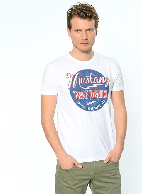 Mustang Baskılı T-Shirt Beyaz